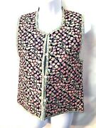 Vintage Ann Catchpole Floral French Style Cotton Quilted Vest Pearl Buttons Sz S