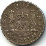Mexico Charles Iii 2 Reales 1763 Mo M Mexico Var. 3 On 2 Km 87