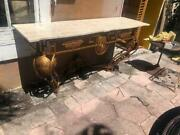 Large Antique Style Travertine Top Iron Outdoors Or Indoors Console Table