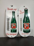 2 Original 7up Porcelain Thermometer Advertising Sign Soda Pop Working Cond
