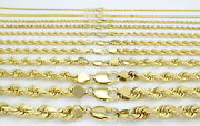 14k Yellow Gold Solid 1-10mm Rope Chain Link Pendant Necklace Men Women 16- 30