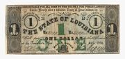 1862 1 State Of Louisiana Baton Rouge Confederate Note W/ Obsoletes On Back