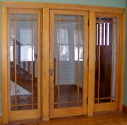 Antique Oak Entry Door With 2 Sides Windows From The 1940and039s Solid Oak