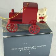 Avon Teddy Bear On Train Red Metal Ornament Gift Collection Taiwan
