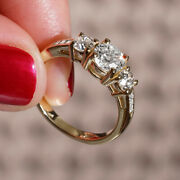 1.63 Ct 3 Stone Diamond Engagement Ring Yellow Gold Si2 Msrp 9700 66351396