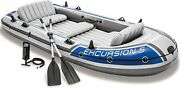Intex 5-person Inflatable Boat Set With Aluminum Oars And High Output Air Pump