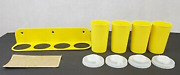 Vintage Tupperware Spice Rack With Shakers, Lids And Labels Yellow New Old Stock