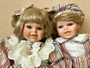 Vintage Very Beautiful Selling Porcelain Dolls Boy And Girl 26-36 Cm Blond Hair