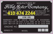 Ford Truck Oem Early F1 Data Plate Serial Number Id Tag Vin Stamping Available