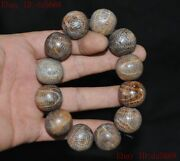 China Ox Horn Bull Horns Carved Buddha Beads Rosary Amulet Bracelet Hand Chain