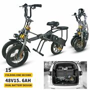 48v 15.6ah 350w Electric Tricycle Foldable 14 Inches 3 Wheel Folding Two Battery