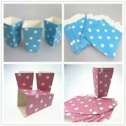 12pcs/lot Blue Pink Polka Dots Paper Popcorn Boxes Snack Party Supplies Birthday
