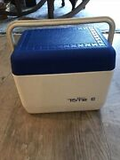 Vintage Gott Tote 6 Cooler White W/ Blue Cover 1806 Lunch Bucket