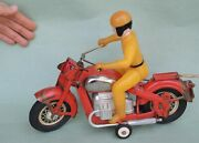 Ussr 1950 Motorcycle + Driver Soviet Russian Toy Metal Model Tin Litho Vintage