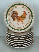 9 Williams-sonoma Tuscan Rooster Salad Plates Mixed Lot Of Nwt And Euc