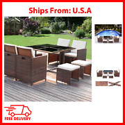 9 Pieces Outdoor Furniture Patio Dining Sets Wicker Rattan Chairs And Glass Table