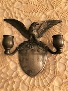 Vintage Pewter Colonial Casting Co. Candle Wall Sconce Eagle And Shield