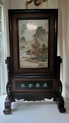 Vintage Chinese Famille Rose Porcelain Plaque Painted Landscape W Stand 33 Tall