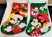 Disney Mickey Mouse And Minnie Mouse Large 3d Felt Christmas Stocking Vintage 20