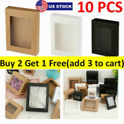 10x Diy Vintage Kraft Paper Gift Boxes Cake Candy Package With Clear Pvc Window