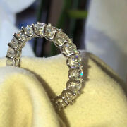 2 Ct Real Round Cut Diamond Eternity Band Solid 18k White Gold Ring Size 5 7 8 9