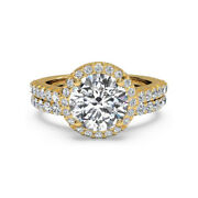 1.40 Ct Real Diamond Engagement Ring 14k Solid Yellow Gold Band Set Size 5 6 7