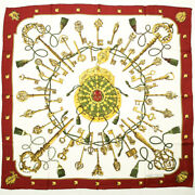 Hermes Scarf Kare 90 Silk Les Cles Key Pattern Antique Womenand039s Mens Red White