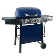 3 Burner Gas Grill With Side Burner 350 Sq. Inch Cooking Surface Blue Sapphire