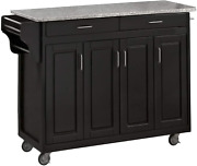 Home Styles Mobile Create-a-cart Black Finish Four Door Cabinet Kitchen Cart Wit