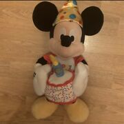 Mickey Mouse Happy Birthday Cake Candle Light 18 Plush Disney Good Condition