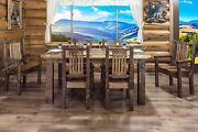 Farmhouse Style Dining Room Furniture Set Table 6 Chairs Amish Made Varnished