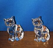 Lenox Collectiable Full Lead Glass Crystal Sitting Cats, Set Of 2 Czech Republic