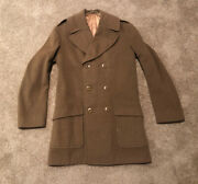 Vintage Wwii Us Army 1943-45 Regulations Officerand039s Overcoat Double Breasted 36l