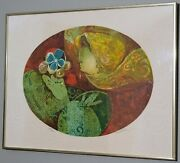 Alvar Sunol Woman Holding A Flower Embossed Lithograph Signed Numbered And Framed