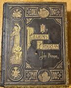 1874 John Bunyan 9 Works All In One Rare Brass Binding Rare X-large Letters.