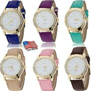 Ladies Multicolor Wrist Watches Crystal Quartz Womens Leather Casual Watch Gifts