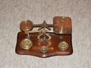 Edwardian Brass And Oak Postal Scales For Letters W/ 7 Weights From 1/2oz To 4oz