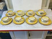 8 Vintage Cup And Saucer Sets Stangl Pottery Blueberry Pattern 16 Total Piece Fine