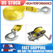 Heavy Duty 2x20' 10000lb Replacement Winch Tow Strap With Hook For Car Suv Boat