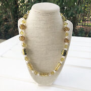New Murano Glass, Amber, Pearl And Czech Crystal Genuine Beaded Necklace
