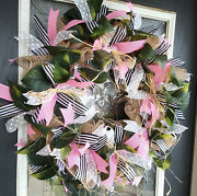 Tropical Pink Shabby Plant Lover Deco Mesh Front Door Wreath Summer Home Decor