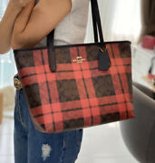 Coach F80028 Brown True Red Zip Top Tote Signature Canvas With Plaid Print New