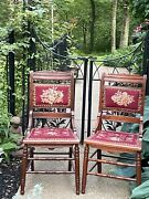 Antique Late Victorian Eastlake Needlepoint Wooden Chairs Pair