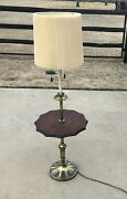 Vintage Mid Century Brass Stiffel Floor Lamp W Wood Center Table And Orig Shade