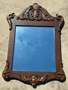 Vintage American Wood Carved Mirror Large Antique Wall Decor