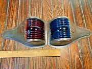 Vintage Pair Perko Bronze Red/blue-green Glass Running Lights New Wiring/leds