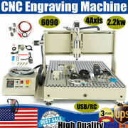 Usb 4 Axis 6090 Cnc 2.2kw Vfd Router Engraver Engraving Machine Mill Cutter + Rc