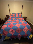 """Vintage Crochet Knitted Afghan Blanket 3d Granny Squares 120 X 96"""" Queen Size"""