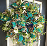 Peacock And Animal Print Deco Mesh Front Door Wreath, Summer Fall Decoration Decor
