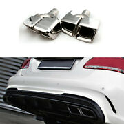 Fit For Benz E-class 2008-2015 Exhaust Pipe Tip Muffler End Stainless Steel 2pcs